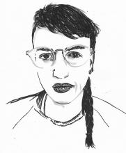 A drawing of a person with a braid and glasses.